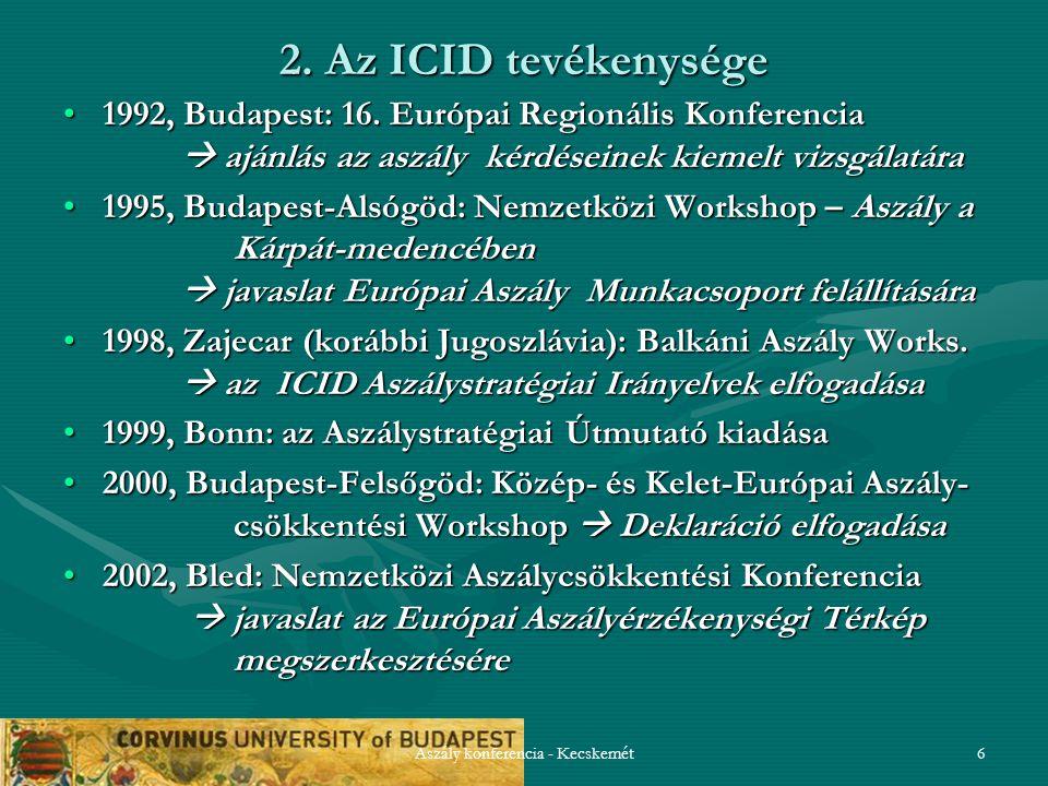 Aszály konferencia - Kecskemét6 2. Az ICID tevékenysége 1992, Budapest: 16. Európai Regionális Konferencia  ajánlás az aszály kérdéseinek kiemelt viz