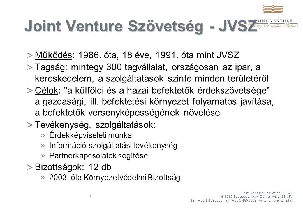 3 Joint Venture Szövetség - JVSZ > Működés: 1986.óta, 18 éve, 1991.