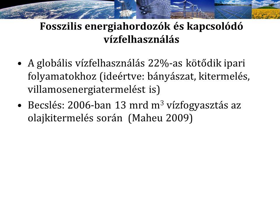 Fosszilis energiahordozók és kapcsolódó vízfelhasználás A globális vízfelhasználás 22%-as kötődik ipari folyamatokhoz (ideértve: bányászat, kitermelés