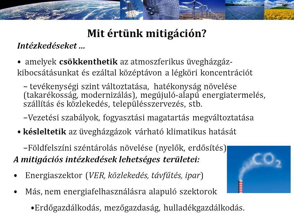 Mit értünk mitigáción? Intézkedéseket... amelyek csökkenthetik az atmoszferikus üvegházgáz- kibocsátásunkat és ezáltal középtávon a légköri koncentrác