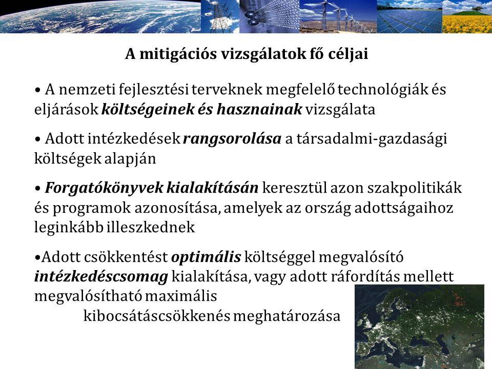 A mitigációs vizsgálatok fő céljai A nemzeti fejlesztési terveknek megfelelő technológiák és eljárások költségeinek és hasznainak vizsgálata Adott int