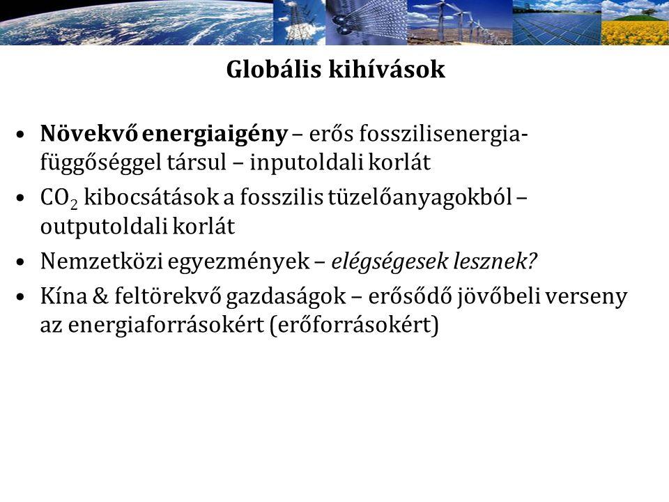 Globális kihívások Növekvő energiaigény – erős fosszilisenergia- függőséggel társul – inputoldali korlát CO 2 kibocsátások a fosszilis tüzelőanyagokbó