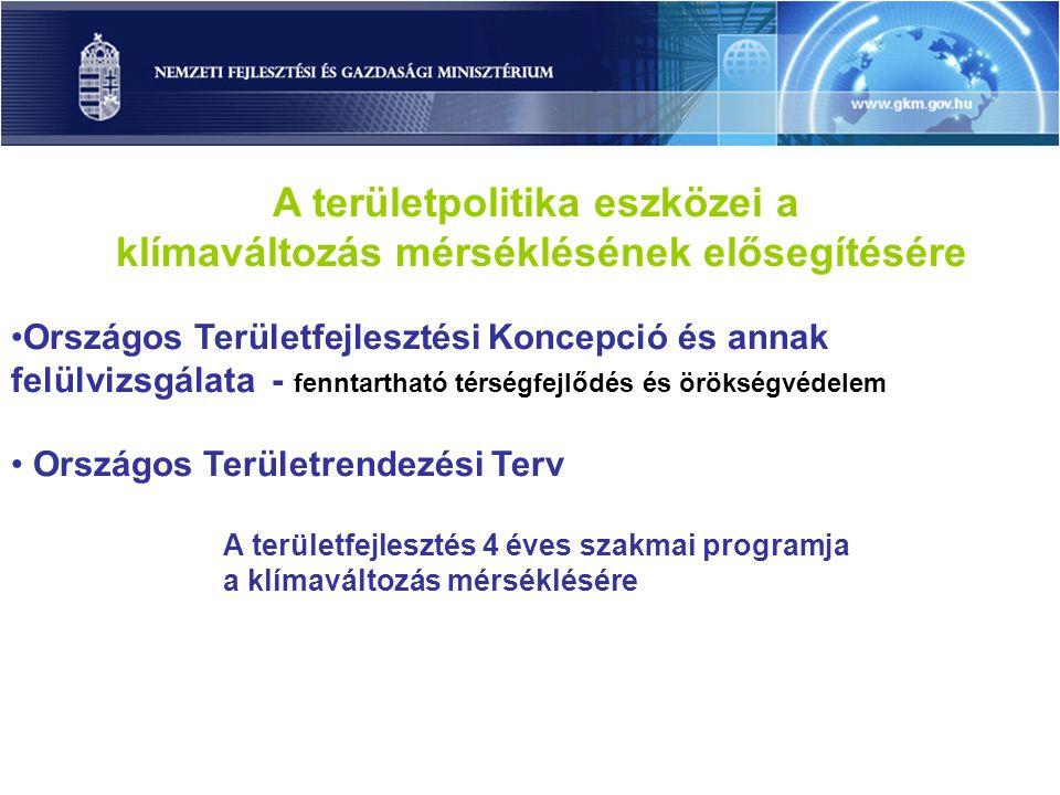 A területfejlesztés 4 éves szakmai programja a klímaváltozás hatásainak mérséklésére (2010-2013) Klímaadaptációs beavatkozások területi és ágazati tervekbe történő integrálásának elősegítése Klímaváltozást megelőző, a hatásokat enyhítő beavatkozások területi és ágazati tervekbe történő integrálásának elősegítése Elemzések-értékelések készítése Adatbázis létrehozása Az éghajlatváltozás környezeti, társadalmi és gazdasági hatásainak területi alapú kutatása, értékelése SPECIFIKUS CÉLOK Térségi klímaadaptáció elősegítése A térségi klímaváltozást megelőző intézkedések megalapozása Térségi klíma-sérülékenység értékelése ÁTFOGÓ CÉLOK