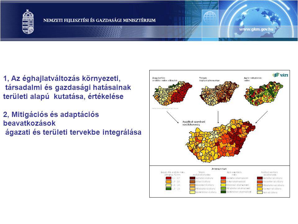 1, Az éghajlatváltozás környezeti, társadalmi és gazdasági hatásainak területi alapú kutatása, értékelése 2, Mitigációs és adaptációs beavatkozások ág