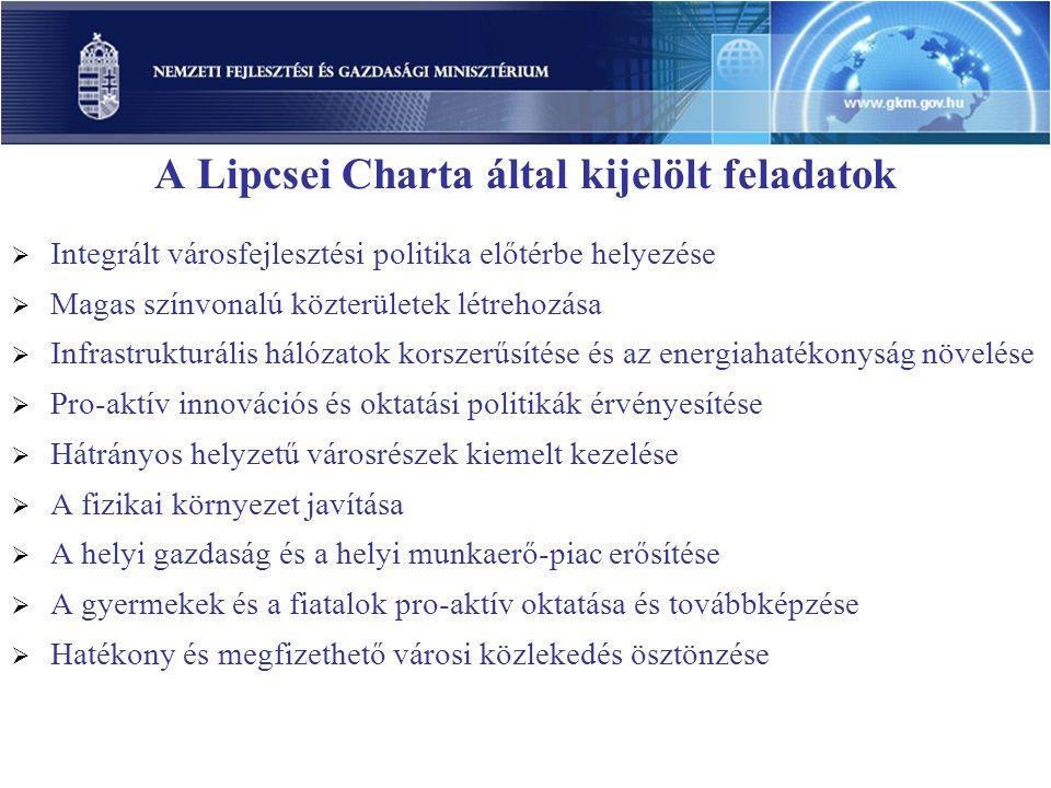 A Lipcsei Charta által kijelölt feladatok  Integrált városfejlesztési politika előtérbe helyezése  Magas színvonalú közterületek létrehozása  Infra