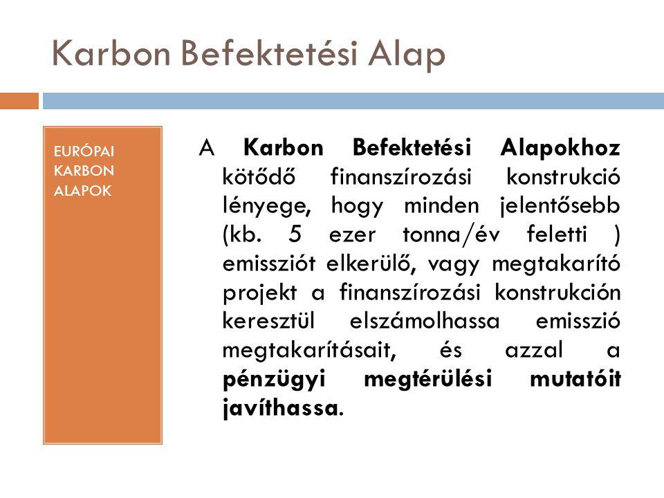 Karbon Befektetési Alap EURÓPAI KARBON ALAPOK A Karbon Befektetési Alapokhoz kötődő finanszírozási konstrukció lényege, hogy minden jelentősebb (kb. 5