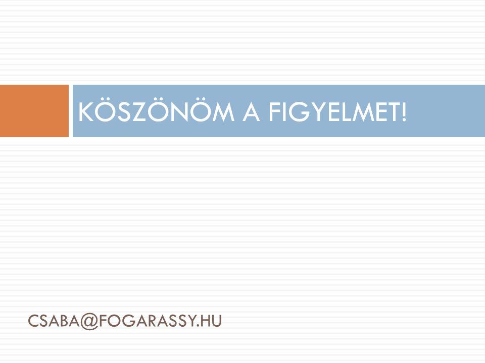 CSABA@FOGARASSY.HU KÖSZÖNÖM A FIGYELMET!