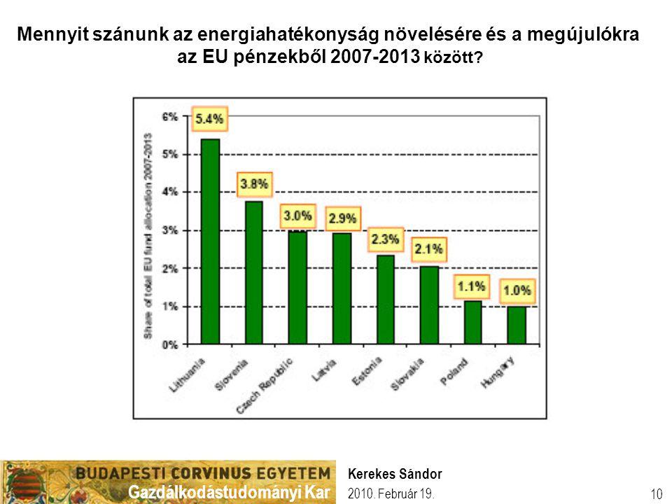 Gazdálkodástudományi Kar 2010. Február 19. Kerekes Sándor 10 Mennyit szánunk az energiahatékonyság növelésére és a megújulókra az EU pénzekből 2007-20