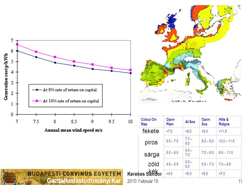 Gazdálkodástudományi Kar 2010. Február 19. Kerekes Sándor 11 Colour On Map Open Plain At Sea Open Sea Hills & Ridges >7.5>8.5>9.0>11.5 6.5 – 7.5 7.0 –