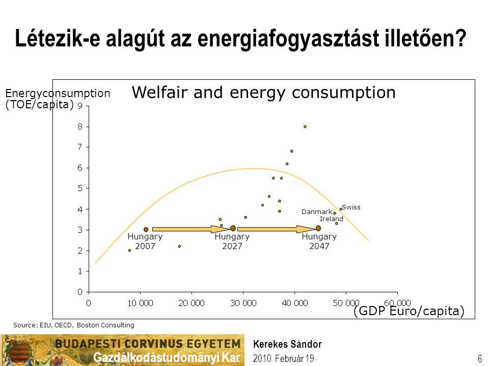 Gazdálkodástudományi Kar 2010. Február 19. Kerekes Sándor 6 Welfair and energy consumption Létezik-e alagút az energiafogyasztást illetően? Energycons