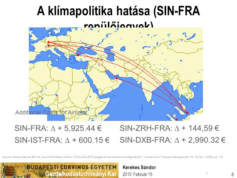 Gazdálkodástudományi Kar 2010. Február 19. Kerekes Sándor 8 8 A klímapolitika hatása (SIN-FRA repülőjegyek) SIN-FRA: ∆ + 5,925.44 € SIN-DXB-FRA: ∆ + 2