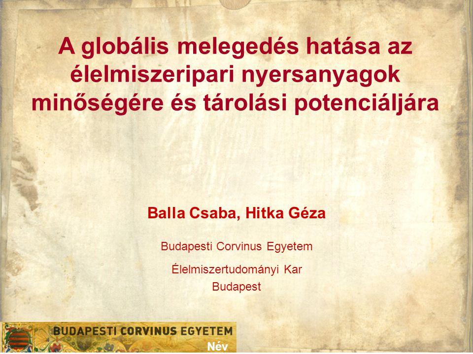 A globális melegedés hatása az élelmiszeripari nyersanyagok minőségére és tárolási potenciáljára Név Balla Csaba, Hitka Géza Budapesti Corvinus Egyete