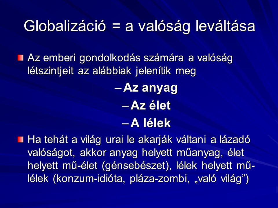 """Globalizáció = a valóság leváltása Az emberi gondolkodás számára a valóság létszintjeit az alábbiak jelenítik meg –Az anyag –Az élet –A lélek Ha tehát a világ urai le akarják váltani a lázadó valóságot, akkor anyag helyett műanyag, élet helyett mű-élet (génsebészet), lélek helyett mű- lélek (konzum-idióta, pláza-zombi, """"való világ )"""