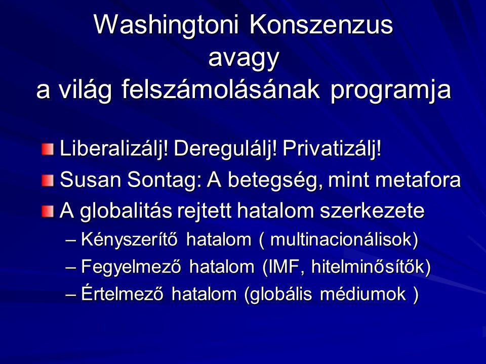 Washingtoni Konszenzus avagy a világ felszámolásának programja Liberalizálj.