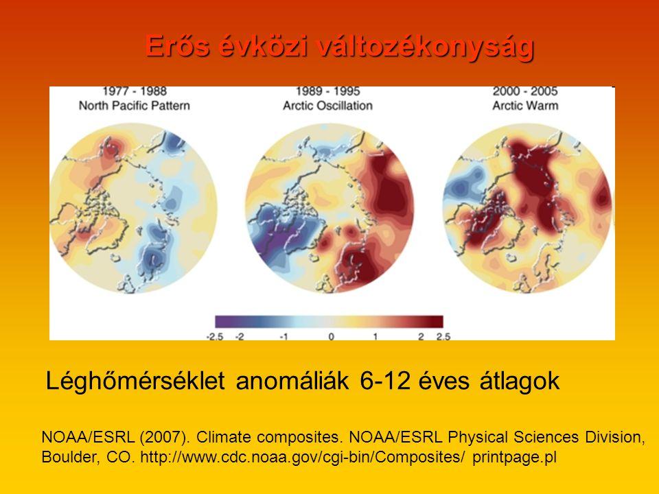 Erős évközi változékonyság Léghőmérséklet anomáliák 6-12 éves átlagok NOAA/ESRL (2007).