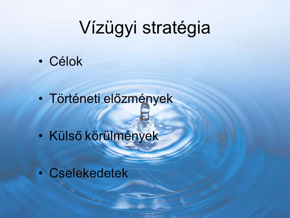 Vízügyi stratégia Célok Történeti előzmények Külső körülmények Cselekedetek
