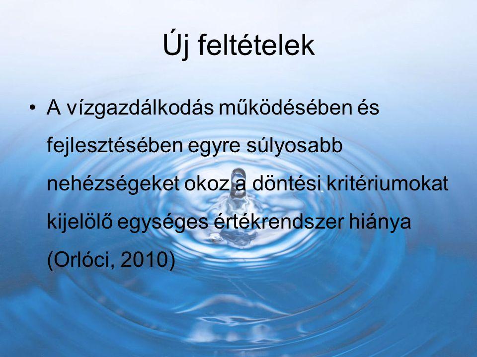 Új feltételek A vízgazdálkodás működésében és fejlesztésében egyre súlyosabb nehézségeket okoz a döntési kritériumokat kijelölő egységes értékrendszer hiánya (Orlóci, 2010)