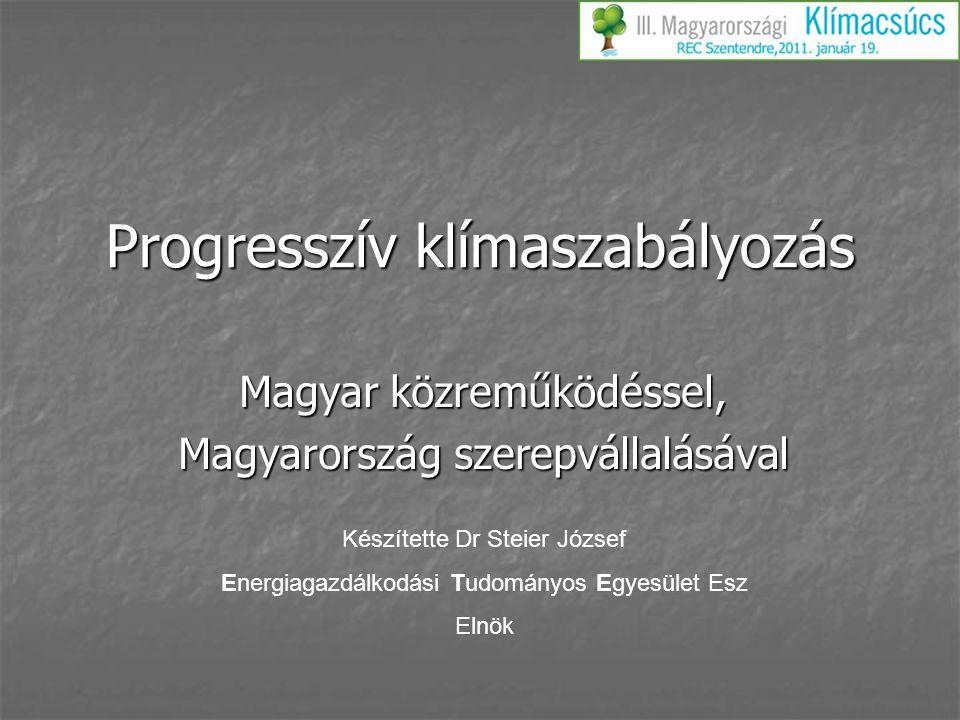 Progresszív klímaszabályozás Magyar közreműködéssel, Magyarország szerepvállalásával Készítette Dr Steier József Energiagazdálkodási Tudományos Egyesü