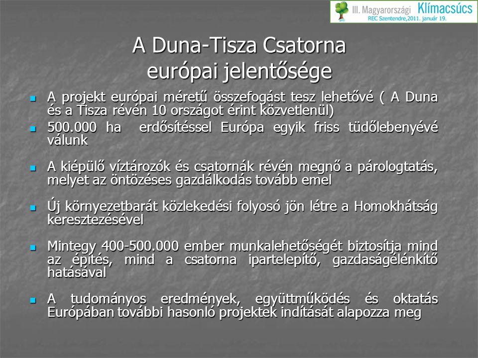 A Duna-Tisza Csatorna európai jelentősége A projekt európai méretű összefogást tesz lehetővé ( A Duna és a Tisza révén 10 országot érint közvetlenül)