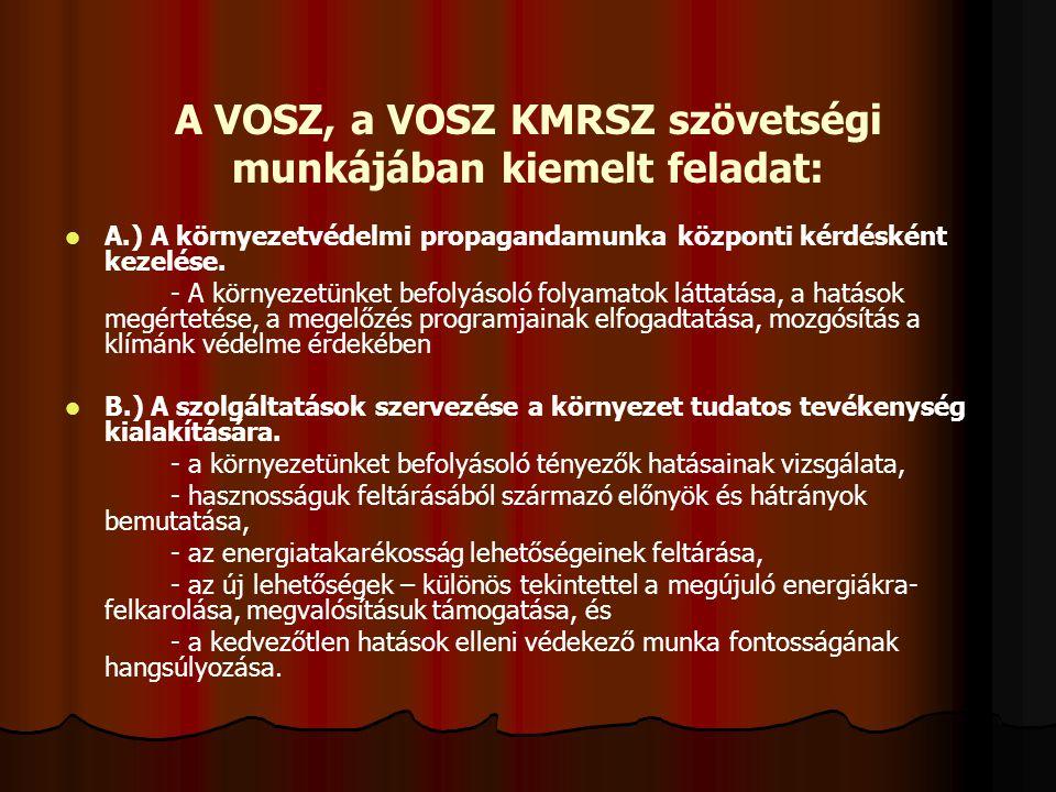 A VOSZ, a VOSZ KMRSZ szövetségi munkájában kiemelt feladat: A.) A környezetvédelmi propagandamunka központi kérdésként kezelése.
