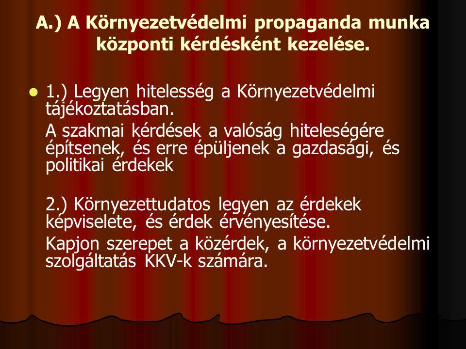 A.) A Környezetvédelmi propaganda munka központi kérdésként kezelése. 1.) Legyen hitelesség a Környezetvédelmi tájékoztatásban. A szakmai kérdések a v