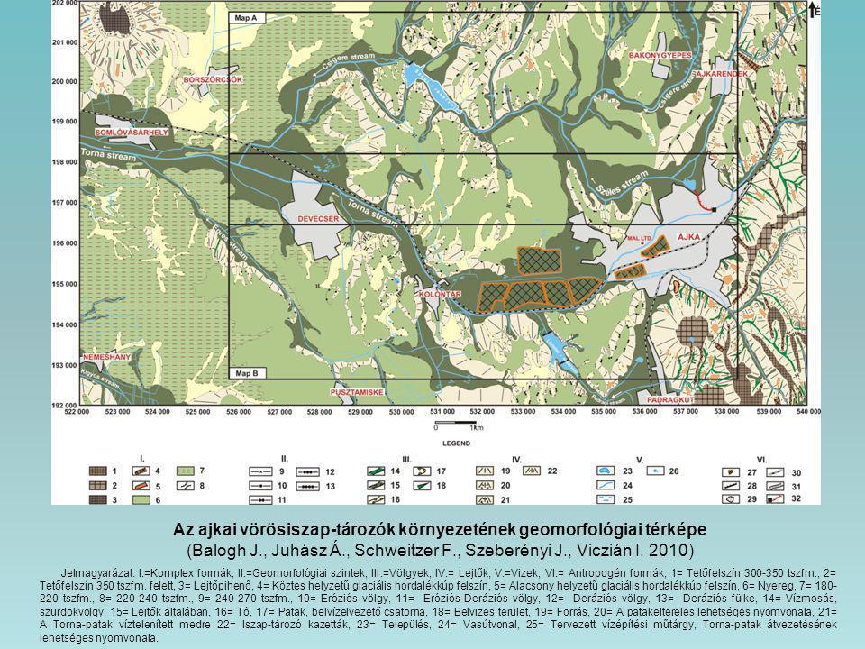 Az ajkai vörösiszap-tározók környezetének geomorfológiai térképe (Balogh J., Juhász Á., Schweitzer F., Szeberényi J., Viczián I. 2010) Jelmagyarázat: