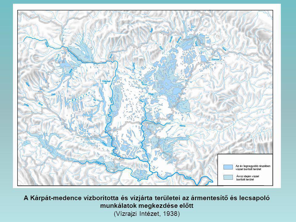A Kárpát-medence vízborította és vízjárta területei az ármentesítő és lecsapoló munkálatok megkezdése előtt (Vízrajzi Intézet, 1938)