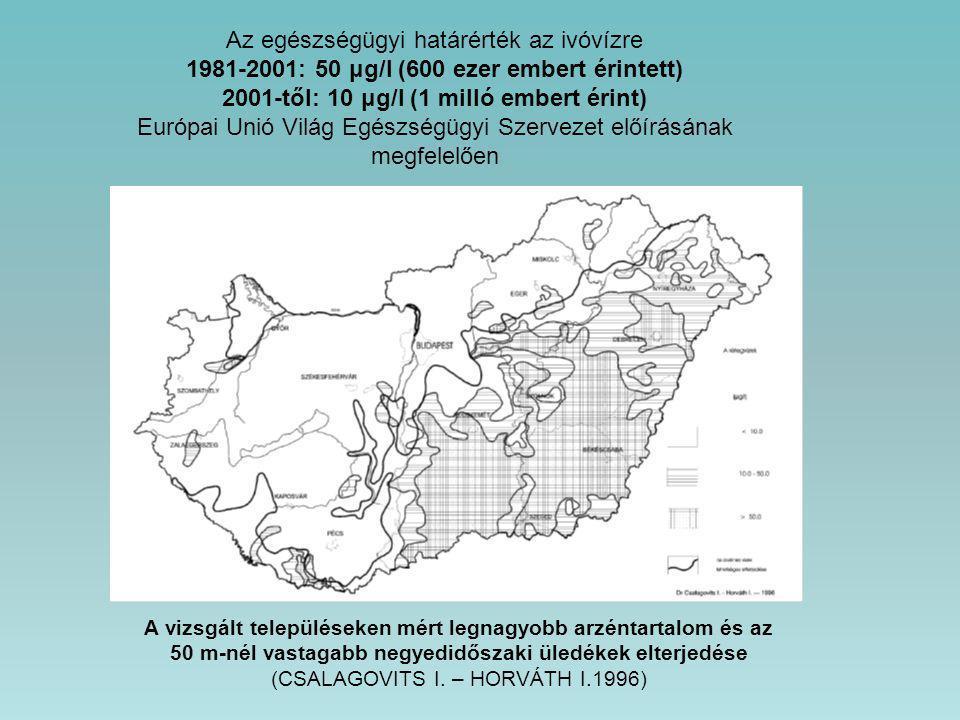 A vizsgált településeken mért legnagyobb arzéntartalom és az 50 m-nél vastagabb negyedidőszaki üledékek elterjedése (CSALAGOVITS I. – HORVÁTH I.1996)