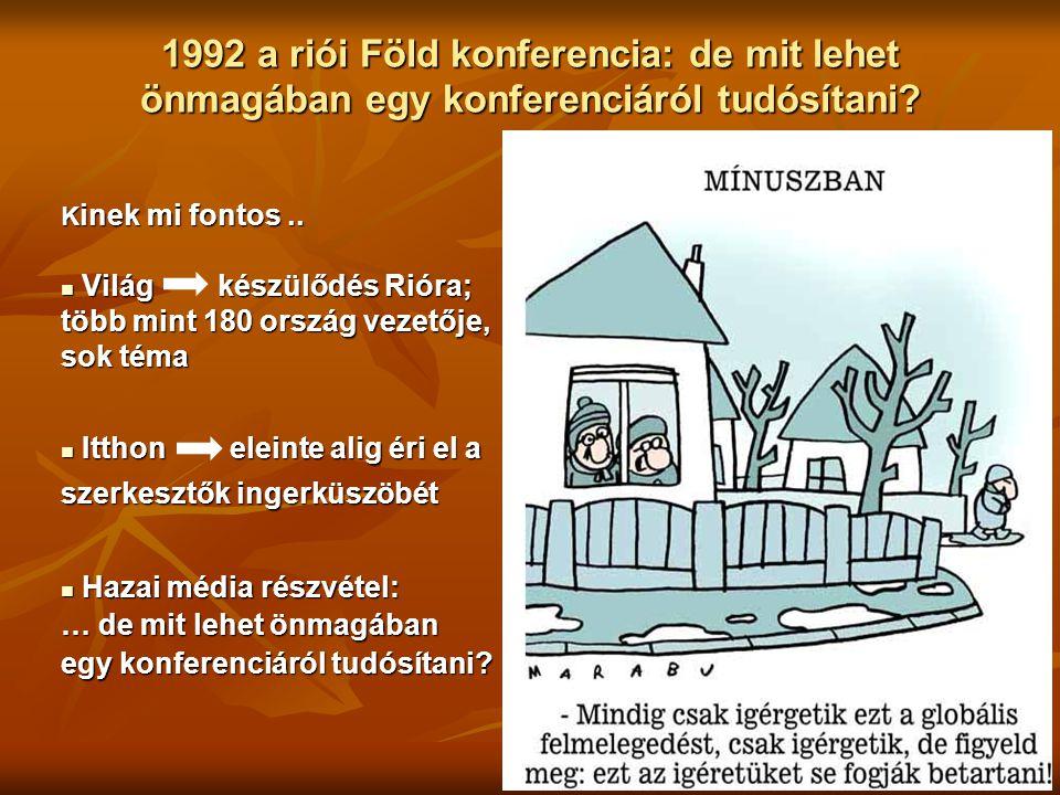 1992 a riói Föld konferencia: de mit lehet önmagában egy konferenciáról tudósítani? K inek mi fontos.. Világ készülődés Rióra; Világ készülődés Rióra;