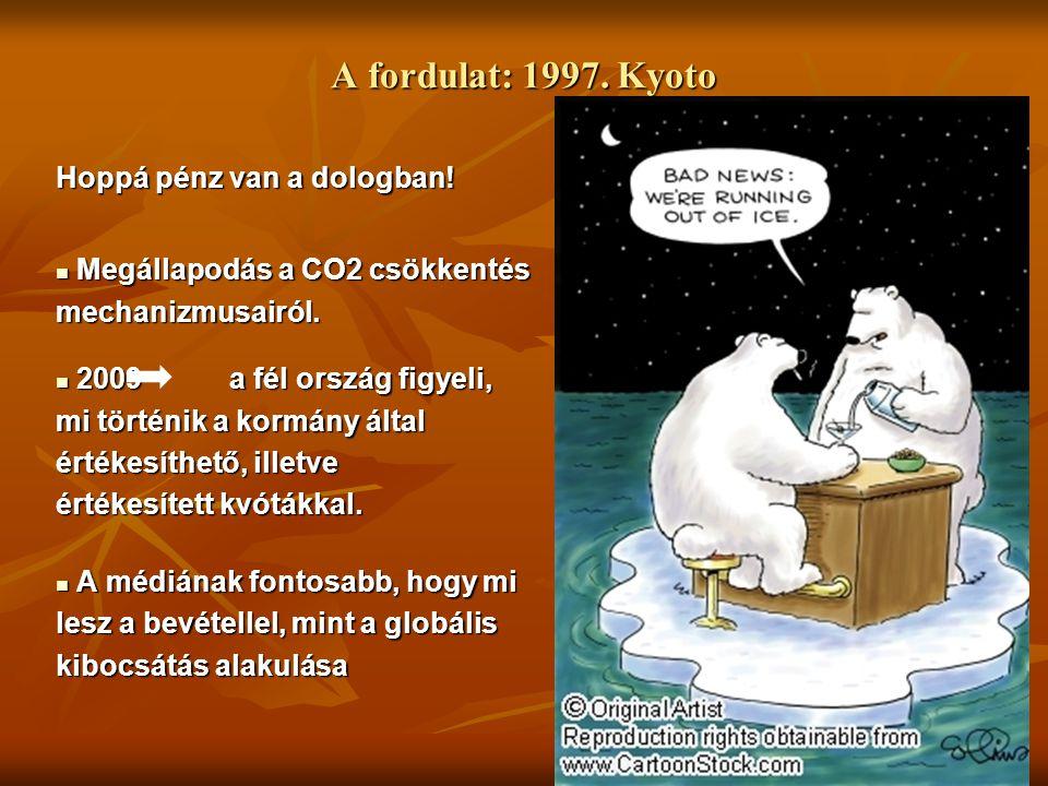 A fordulat: 1997. Kyoto Hoppá pénz van a dologban! Megállapodás a CO2 csökkentés Megállapodás a CO2 csökkentésmechanizmusairól. 2009 a fél ország figy