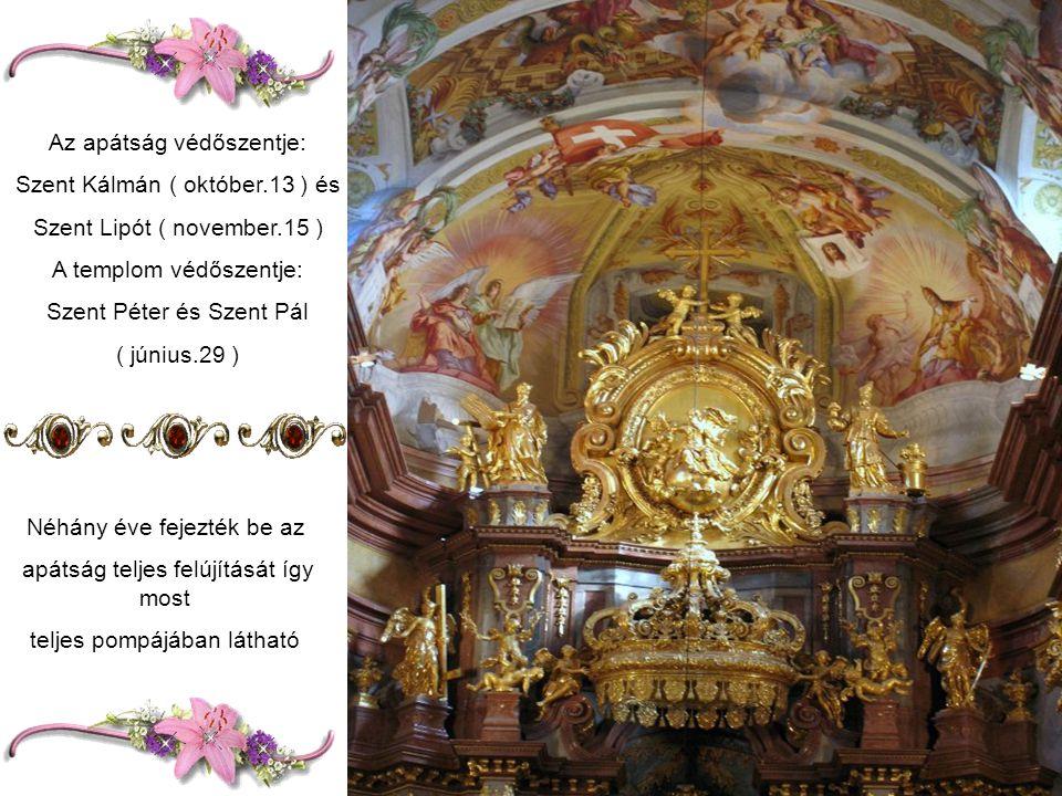 A templom főoltárát Beduzzi tervezte.A mennyezetfreskók Rottmayr alkotásai Gyönyörű Szt.