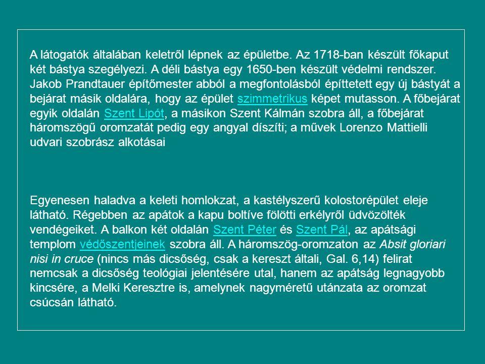 Melki apátság Szent Benedek-rendiSzent Benedek-rendi melki apátság, az Alsó-Ausztriai Melkben, a Duna mentén található. Wachau jelképeként az UNESCO v
