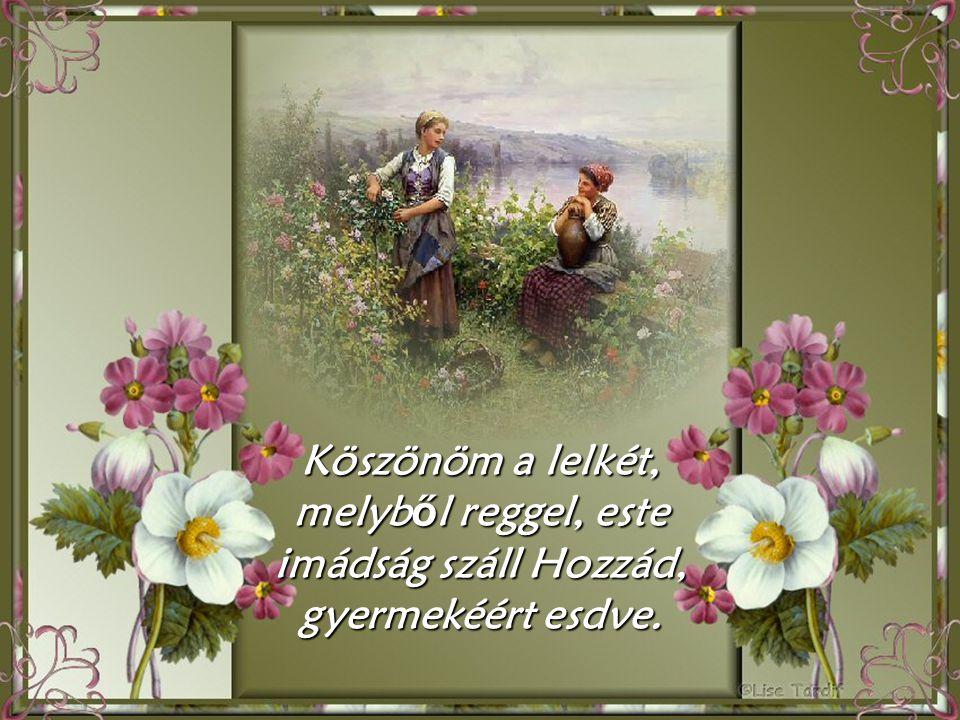 Köszönöm a lelkét, melyb ő l reggel, este imádság száll Hozzád, gyermekéért esdve.