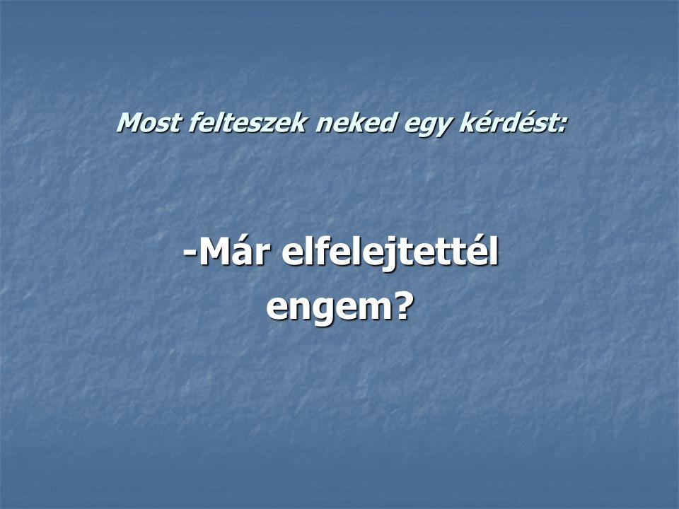 Most felteszek neked egy kérdést: -Már elfelejtettél engem?