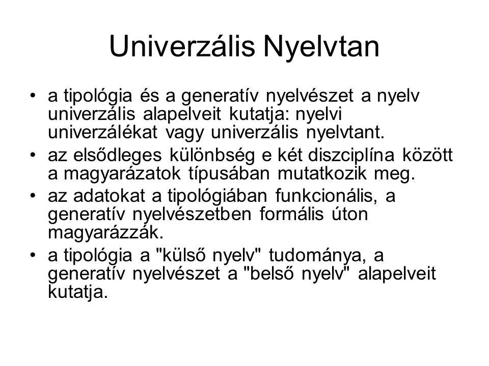 Univerzális Nyelvtan a tipológia és a generatív nyelvészet a nyelv univerzális alapelveit kutatja: nyelvi univerzálékat vagy univerzális nyelvtant.