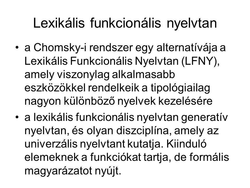 Lexikális funkcionális nyelvtan a Chomsky-i rendszer egy alternatívája a Lexikális Funkcionális Nyelvtan (LFNY), amely viszonylag alkalmasabb eszközökkel rendelkeik a tipológiailag nagyon különböző nyelvek kezelésére a lexikális funkcionális nyelvtan generatív nyelvtan, és olyan diszciplína, amely az univerzális nyelvtant kutatja.