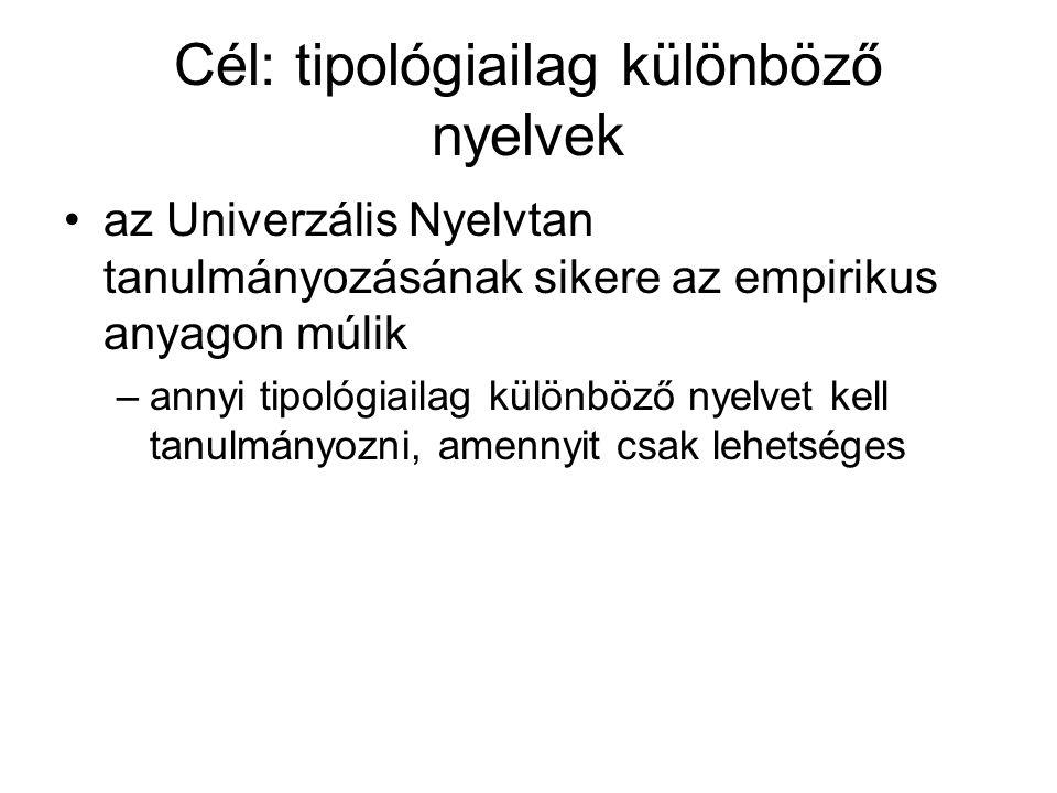 Cél: tipológiailag különböző nyelvek az Univerzális Nyelvtan tanulmányozásának sikere az empirikus anyagon múlik –annyi tipológiailag különböző nyelvet kell tanulmányozni, amennyit csak lehetséges