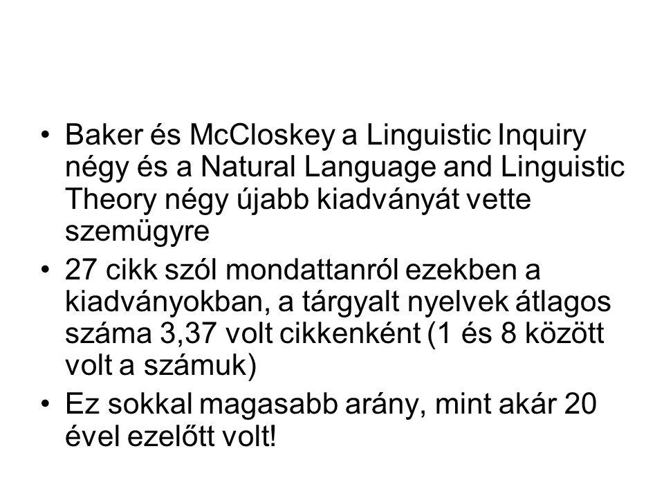 Baker és McCloskey a Linguistic Inquiry négy és a Natural Language and Linguistic Theory négy újabb kiadványát vette szemügyre 27 cikk szól mondattanról ezekben a kiadványokban, a tárgyalt nyelvek átlagos száma 3,37 volt cikkenként (1 és 8 között volt a számuk) Ez sokkal magasabb arány, mint akár 20 ével ezelőtt volt!