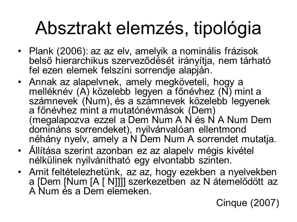 Absztrakt elemzés, tipológia Plank (2006): az az elv, amelyik a nominális frázisok belső hierarchikus szerveződését irányítja, nem tárható fel ezen elemek felszíni sorrendje alapján.