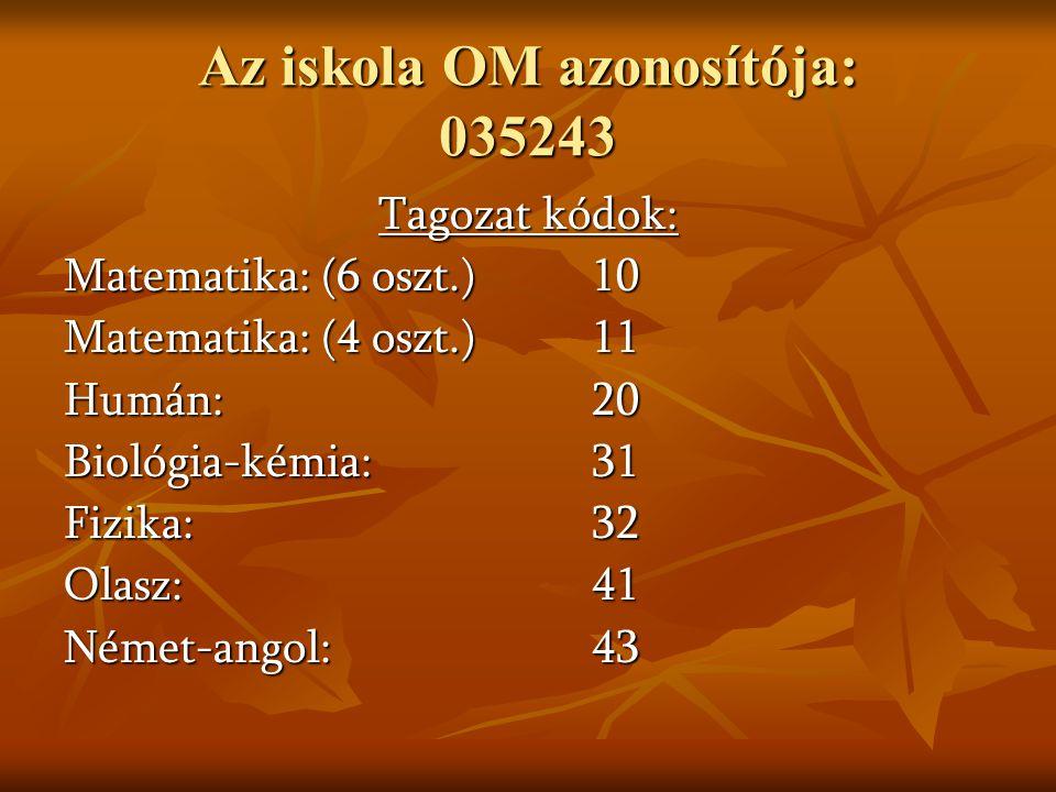 Az iskola OM azonosítója: 035243 Tagozat kódok: Matematika: (6 oszt.) 10 Matematika: (4 oszt.)11 Humán: 20 Biológia-kémia: 31 Fizika: 32 Olasz: 41 Német-angol: 43