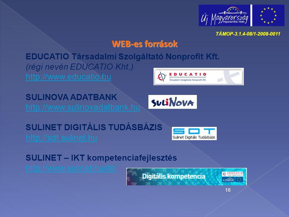 18 WEB-es források EDUCATIO Társadalmi Szolgáltató Nonprofit Kft. (régi nevén EDUCATIO Kht.) http://www.educatio.hu SULINOVA ADATBANK http://www.sulin
