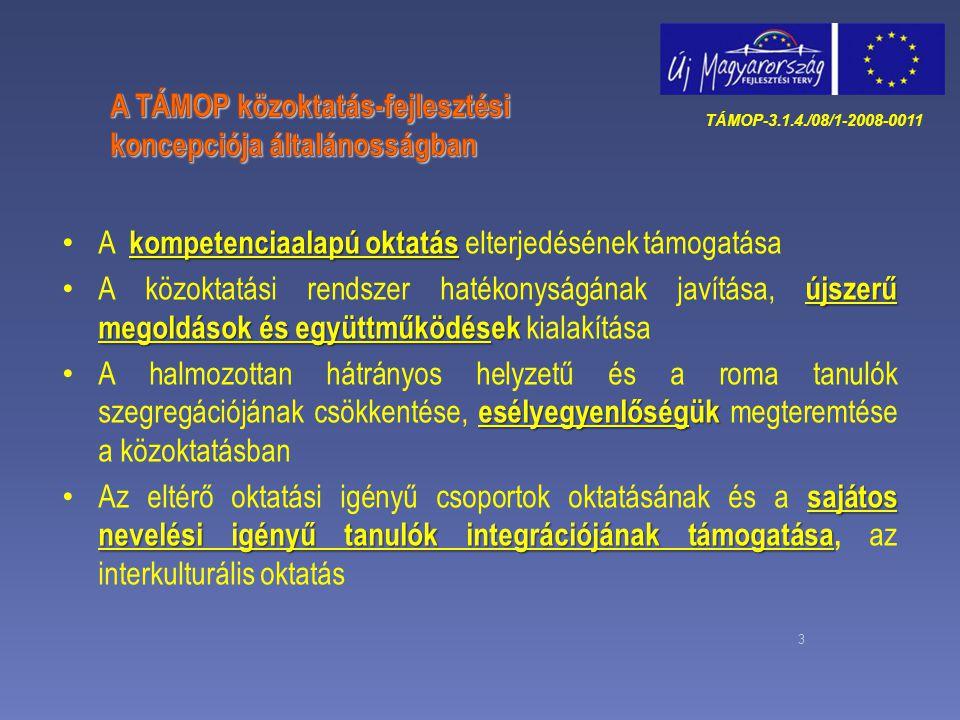 3 kompetenciaalapú oktatás A kompetenciaalapú oktatás elterjedésének támogatása újszerű megoldások és együttműködések A közoktatási rendszer hatékonys