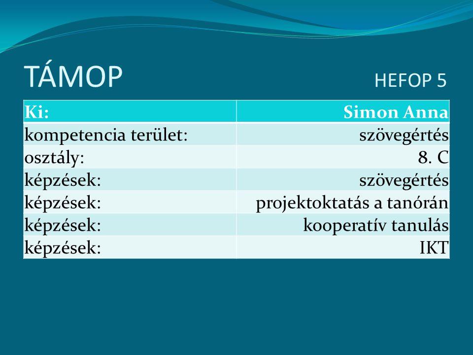 TÁMOP HEFOP 5 Ki:Simon Anna kompetencia terület:szövegértés osztály:8. C képzések:szövegértés képzések:projektoktatás a tanórán képzések:kooperatív ta