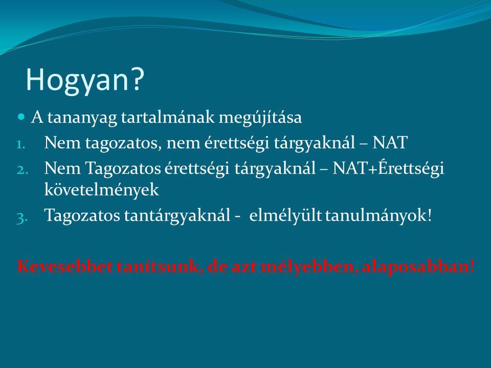 Hogyan? A tananyag tartalmának megújítása 1. Nem tagozatos, nem érettségi tárgyaknál – NAT 2. Nem Tagozatos érettségi tárgyaknál – NAT+Érettségi követ