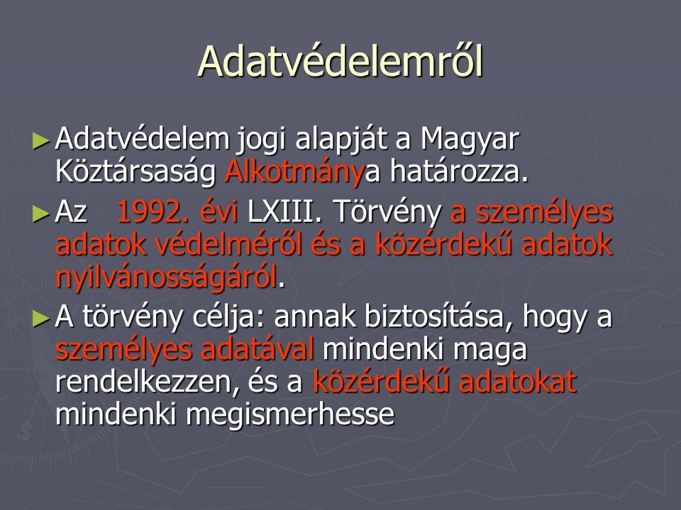 Adatvédelemről ► Adatvédelem jogi alapját a Magyar Köztársaság Alkotmánya határozza. ► Az 1992. évi LXIII. Törvény a személyes adatok védelméről és a