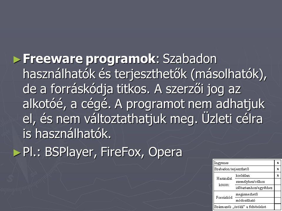 ► Freeware programok: Szabadon használhatók és terjeszthetők (másolhatók), de a forráskódja titkos. A szerzői jog az alkotóé, a cégé. A programot nem