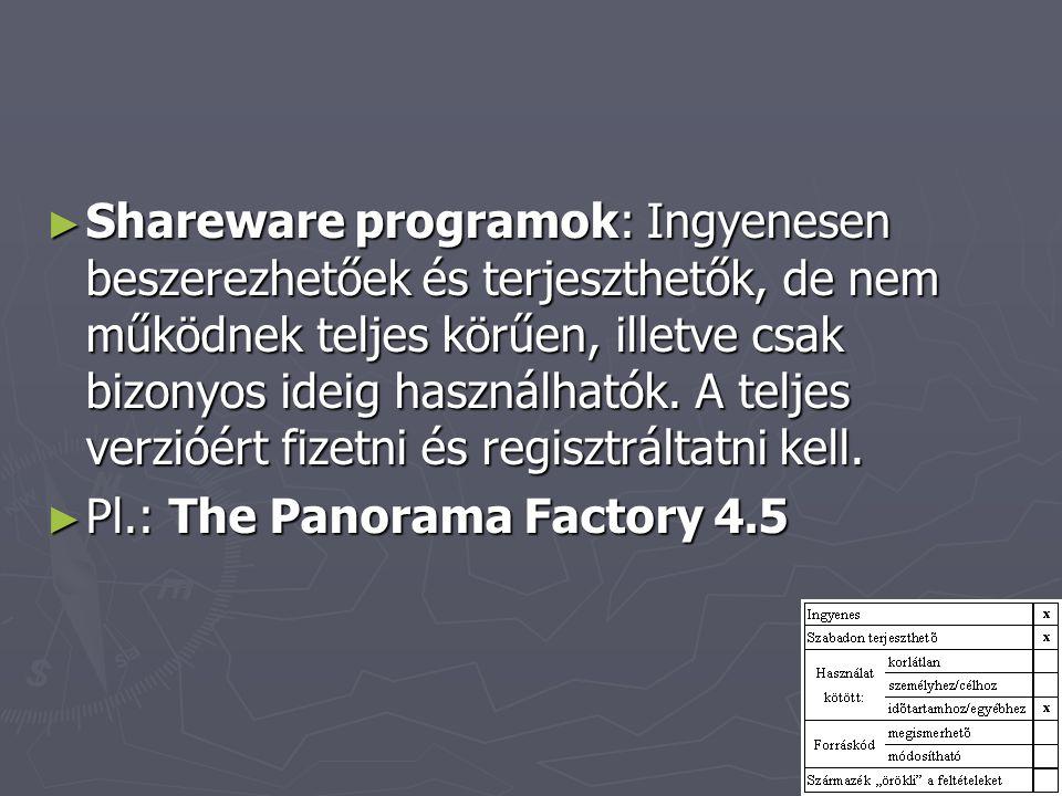 ► Shareware programok: Ingyenesen beszerezhetőek és terjeszthetők, de nem működnek teljes körűen, illetve csak bizonyos ideig használhatók. A teljes v