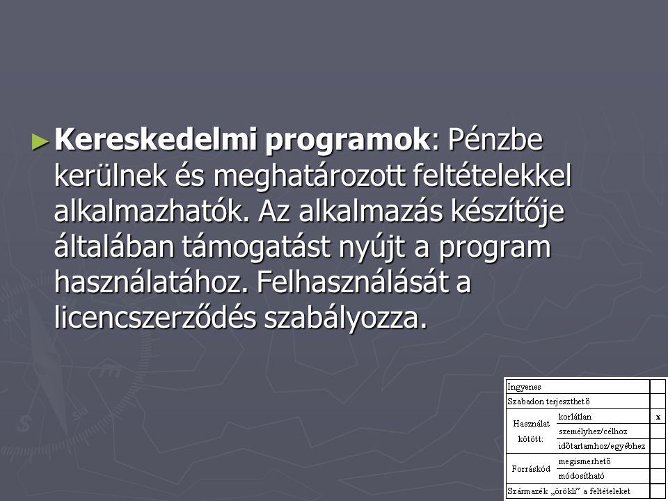 ► Kereskedelmi programok: Pénzbe kerülnek és meghatározott feltételekkel alkalmazhatók. Az alkalmazás készítője általában támogatást nyújt a program h