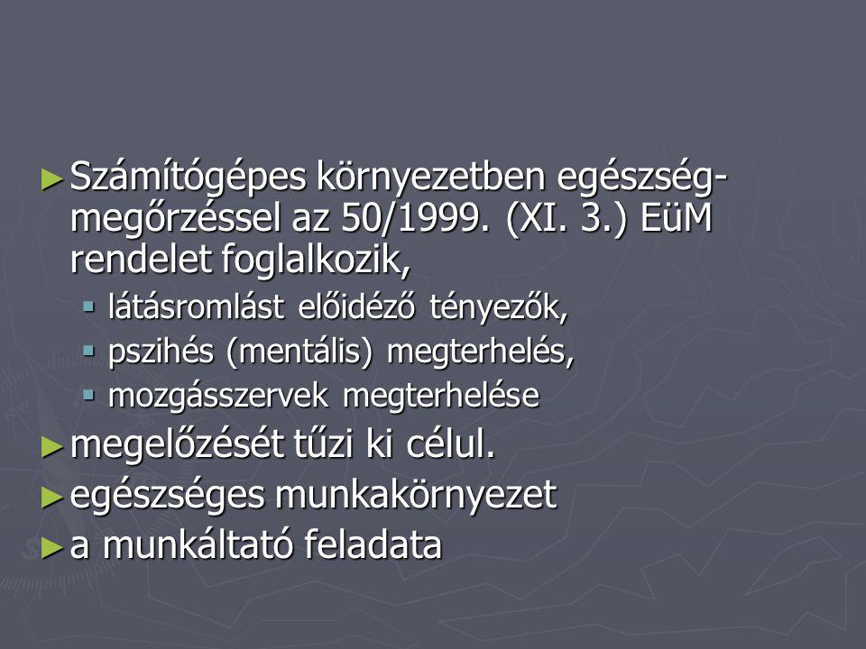 ► Számítógépes környezetben egészség- megőrzéssel az 50/1999. (XI. 3.) EüM rendelet foglalkozik,  látásromlást előidéző tényezők,  pszihés (mentális
