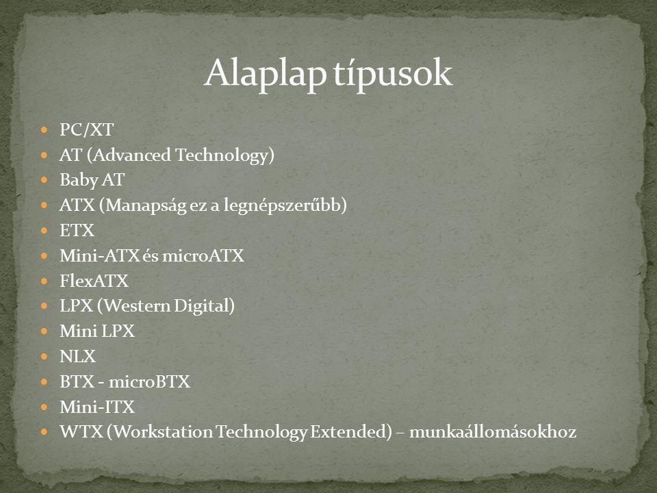 PC/XT AT (Advanced Technology) Baby AT ATX (Manapság ez a legnépszerűbb) ETX Mini-ATX és microATX FlexATX LPX (Western Digital) Mini LPX NLX BTX - microBTX Mini-ITX WTX (Workstation Technology Extended) – munkaállomásokhoz